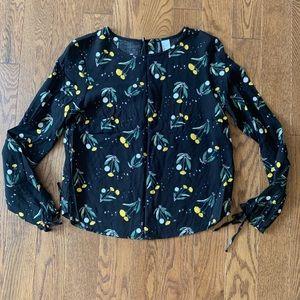 H&M Black Dandelion Print Button Back Shirt